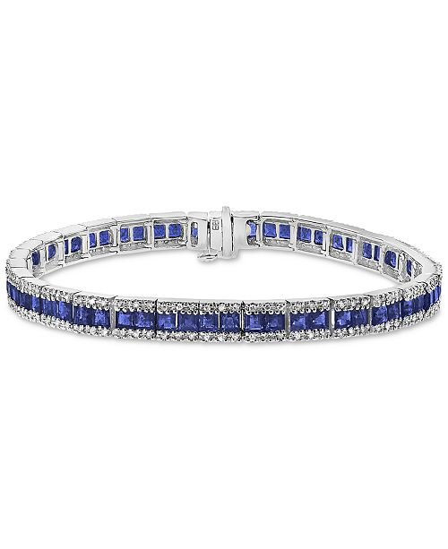 EFFY Collection EFFY® Sapphire (8-1/4 ct. t.w.) & Diamond (9/10 ct. t.w.) Link Bracelet in 14k White Gold