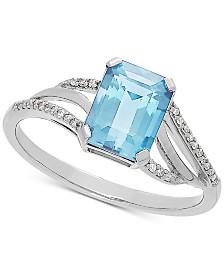 Aquamarine (1-3/8 ct. t.w.) & Diamond Accent Ring in 14k White Gold