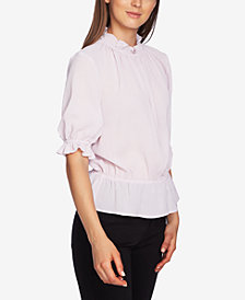 1.STATE Short-Sleeve Micro-Check Blouse
