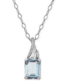 "Aquamarine (1-3/8 ct. t.w.) & Diamond Accent 18"" Pendant Necklace in 14k White Gold"