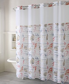 Hookless Seashell Stripe Print 3-in-1 Shower Curtain