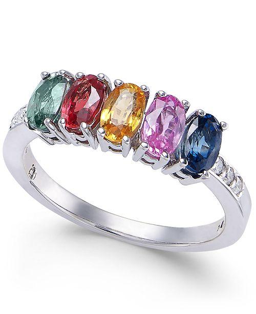 Macy's Multi-Sapphire (2 ct. t.w.) & Diamond Accent Ring in 14k White Gold