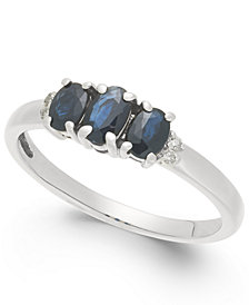 Sapphire (1 ct. t.w.) & Diamond Accent Ring in 14k White Gold