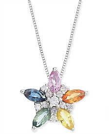 "Multicolor Sapphire (1-1/6 ct. t.w.) & Diamond (1/10 ct. t.w.) Flower 18"" Pendant Necklace in 14k White Gold"