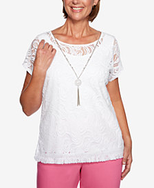 Alfred Dunner Petite Palm Coast Lace-Overlay Top