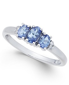 Tanzanite (5/8 ct. t.w.) & Diamond Accent Ring in 14k White Gold