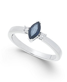 Sapphire (1/2 ct. t.w.) & Diamond Accent Ring in 14k White Gold