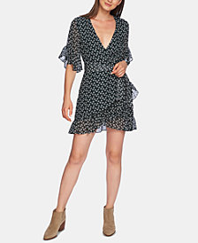 1.STATE Short-Sleeve Ruffly-Flounce Dress