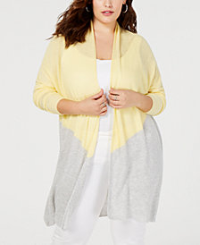 I.N.C. Plus Size Colorblocked Completer Sweater, Created for Macy's