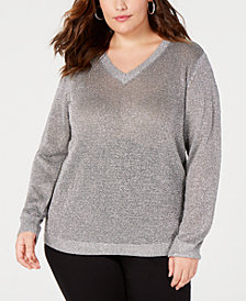 I.N.C. Plus Size V-Neck Metallic Sweater, Created for Macy's