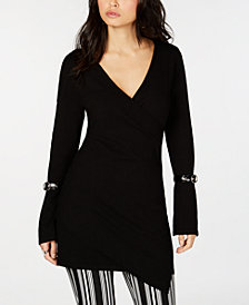 I.N.C. Buckle Surplice Tunic Sweater, Created for Macy's