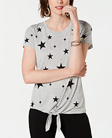 I.N.C. Star-Print Front-Tie T-Shirt, Created for Macy's