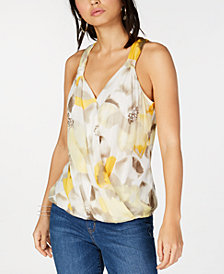 I.N.C. Petite Printed Surplice-Neck Top, Created for Macy's
