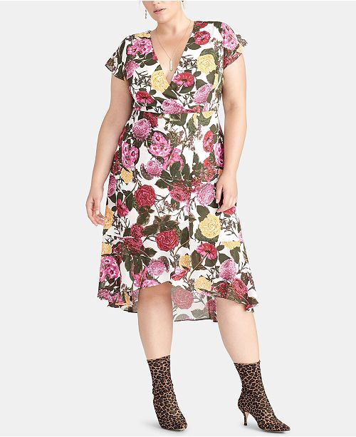 RACHEL Rachel Roy Plus Size Floral-Print High-Low Hem Dress ...