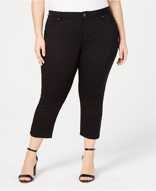INC International Concepts I.N.C. Plus & Petite Plus Size INCFinity Cropped Skinny Jeans, Created for Macy's
