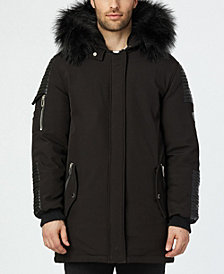 NOIZE Men's Lex Long Parka With Quilted Trim