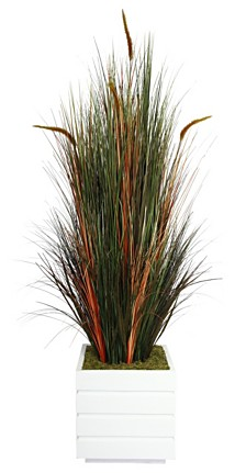 "Laura Ashley 66"" Tall Onion Grass Artificial Decorative Lifelike with Cattails in 14"" Fiberstone Planter"