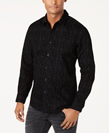 I.N.C. Men's Flocked Floral Shirt, Created for Macy's