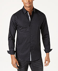 I.N.C. Men's Slim-Fit Stretch Dot-Print Shirt, Created for Macy's