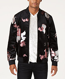 I.N.C. Men's Abstract Floral Bomber Jacket, Created for Macy's