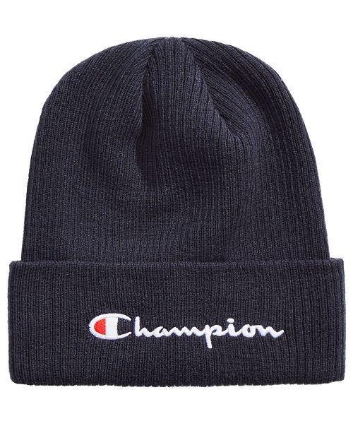 2a92568a03b62 Champion Men s Cuffed Ribbed-Knit Beanie   Reviews - All ...