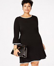 Plus Size Drop-Waist Ruffle-Hem Dress