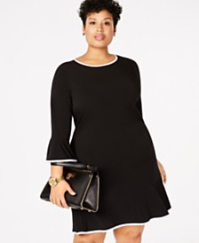 MICHAEL Michael Kors Plus Size Drop-Waist Ruffle-Hem Dress