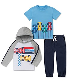 Kids Headquarters Toddler Boys 3-Pc. Race-Car Hoodie; T-Shirt & Joggers Set