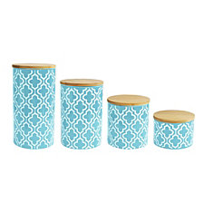 Jay Imports Quatrefoil Teal Canister, Set of 4