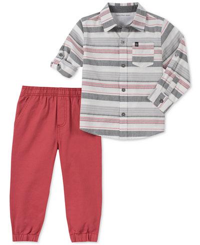 Calvin Klein Toddler Boys Striped Cotton Shirt & Joggers Set