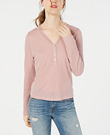 American Rag Juniors' Crochet-Trimmed Rib-Knit Henley Top, Created for Macy's