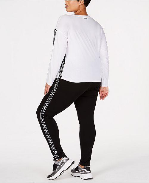 5f4b7e7660d3a Michael Kors Plus Size MKGO Logo-Stripe Leggings   Reviews - Women ...