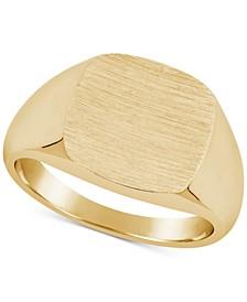 Men's Textured Signet Ring in 10k Gold