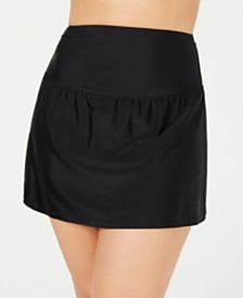 Island Escape Plus Size Tummy-Control Swim Skirt, Created for Macy's