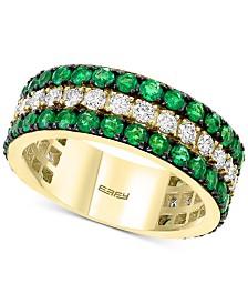 EFFY® Emerald (1-3/4 ct. t.w.) & Diamond (5/8 ct. t.w.) Statement Ring in 14k Gold