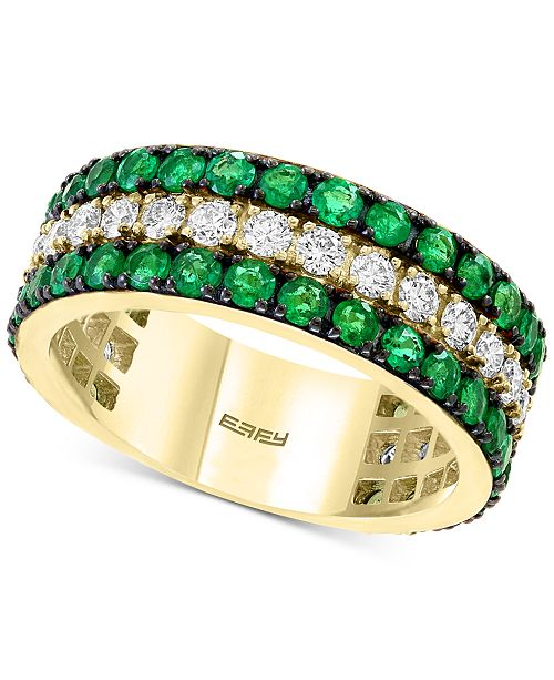 EFFY Collection EFFY® Emerald (1-3/4 ct. t.w.) & Diamond (5/8 ct. t.w.) Statement Ring in 14k Gold