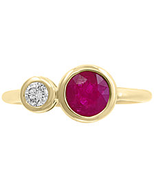 EFFY® Certified Ruby (1 ct. t.w.) & Diamond (1/6 ct. t.w.) Ring in 14k Gold