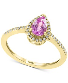 EFFY® Pink Sapphire (3/4 ct. t.w.) & Diamond (1/8 ct. t.w.) Ring in 14k Gold