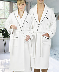 Linum Home Personalized 100% Turkish Cotton Waffle Terry Bath Robe - White
