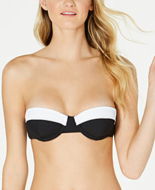 Volcom Juniors' Simply Rib Colorblocked Bandeau Bikini Top
