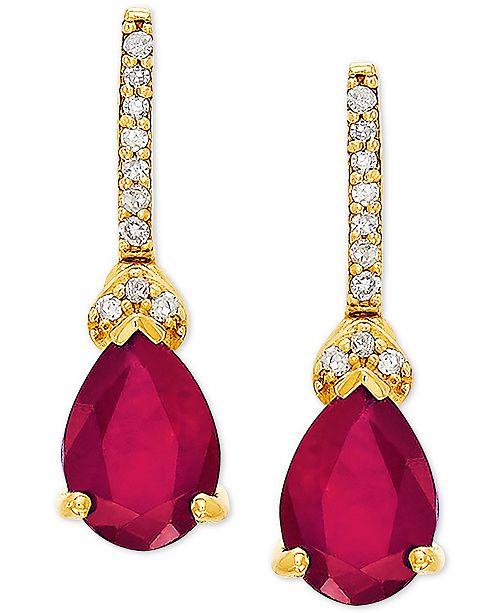 Macy's Certified Ruby (1-3/4 ct. t.w.) & Diamond Accent Drop Earrings in 14k Gold