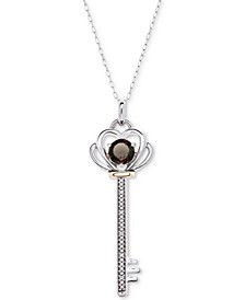 """Citrine (5/8 ct. t.w.) & Diamond Accent Key 18"""" Pendant Necklace in Sterling Silver & 10k Gold"""