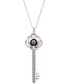 """Lab-Created Ruby (3/4 ct. t.w.) & Diamond Accent Key 18"""" Pendant Necklace in Sterling Silver & 10k Gold"""