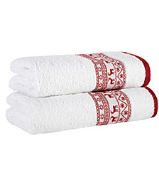 Enchante Home Reindeer Embellished 2-Pc. Bath Towel Set