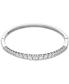 Cubic Zirconia Graduated Bangle Bracelet in Sterling Silver