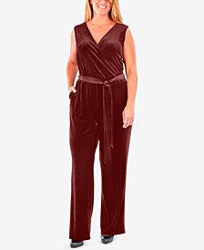 NY Collection Plus Size Sleeveless Faux-Wrap Velvet Jumpsuit