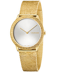 Calivn Klein Women's Swiss Minimal Yellow Gold-Tone PVD Stainless Steel Mesh Bracelet Watch 35mm