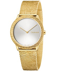 Calvin Klein Women's Swiss Minimal Yellow Gold-Tone PVD Stainless Steel Mesh Bracelet Watch 35mm