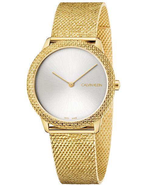 Calvin Klein Women's Swiss Minimal Yellow Gold-Tone PVD Stainless Steel Mesh Bracelet Watch 35mm