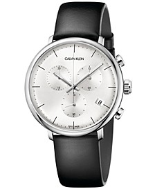 Men's Swiss Chronograph High Noon Black Leather Strap Watch 40mm